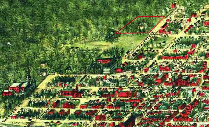 Outlined in red, the original Cedars was a few blocks north of Georgetown University. (Detail: The national capital, Washington, D.C. Sketched from nature by Adolph Sachse, 1883–1884. Library of Congress Geography and Map Division. 75693178.)
