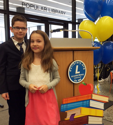 Marek and his sister, Klara, at the May 7 awards ceremony at MLK Jr. Library.