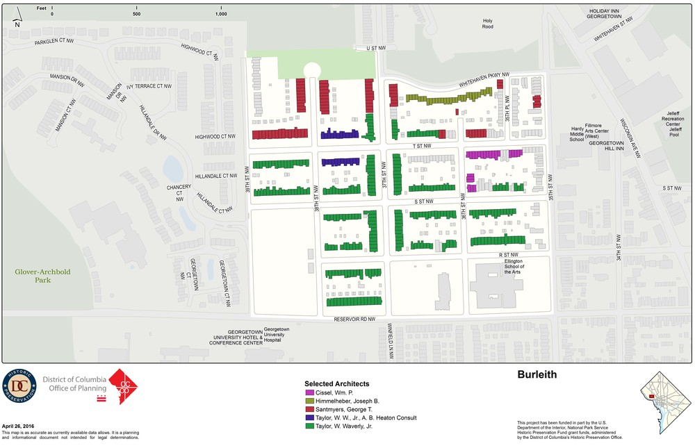 This planning map shows the various architects who designed most of Burleith.