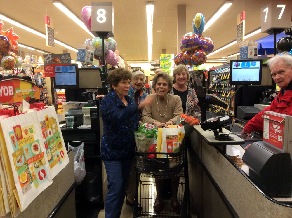 Bob, our favorite checker, greets longtime friends on Fridays at Safeway.