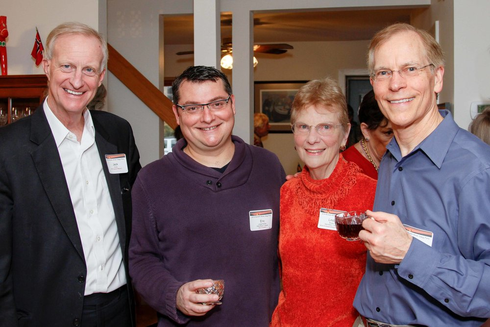 Councilmember Jack Evans and BCA president Eric Langenbacher join hosts Linda Brooks and Ross Schipper at the February 2016 event. photo by alex frederick.