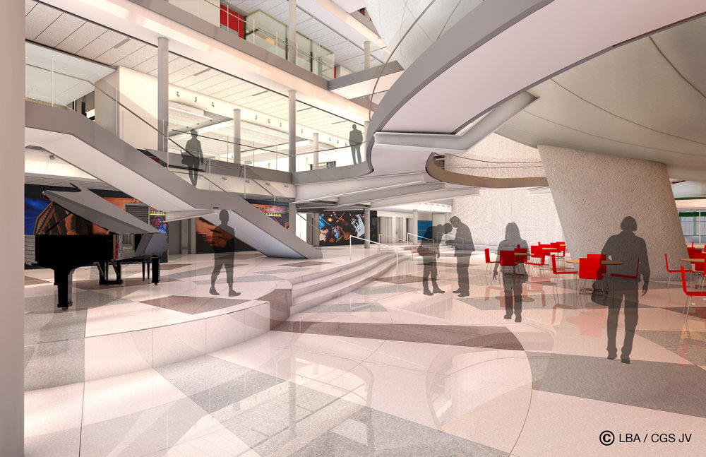 Rendering of ground floor of atrium looking southeast with the theater above.