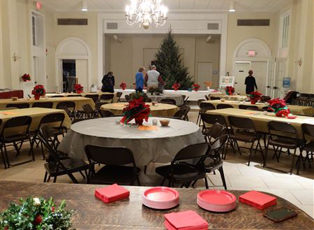 party set-up at Blake hall, St. John's Episcopal Church.
