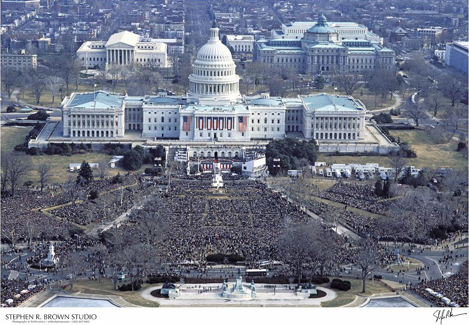 Inaugural ceremony of President Ronald Reagan photographed from a National Park Service helicopter, 1981.