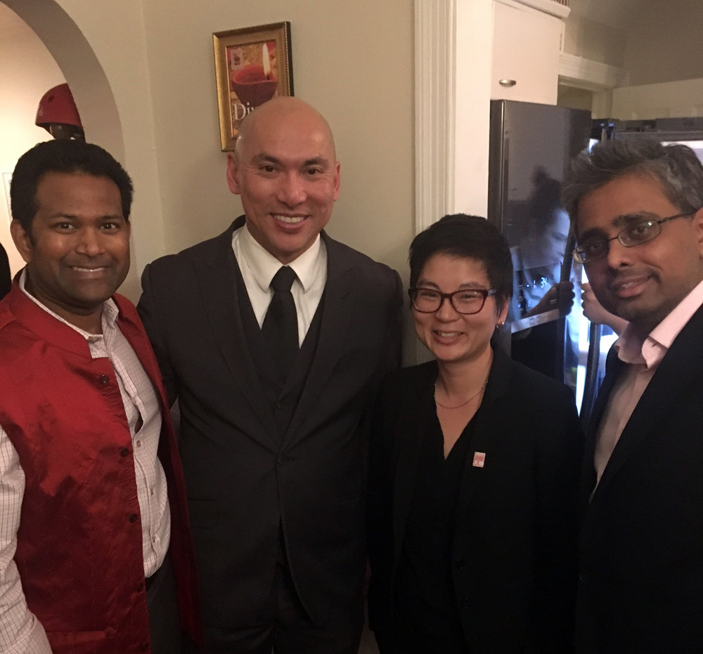 Laura Newland with Kishan Putta and other guests.