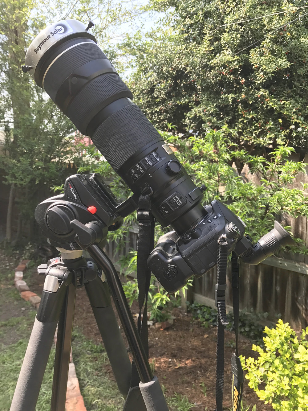 author rich schmidt will be southwest of St. Louis, MO (Ste. Genevieve) in the path of totality, hoping to get some photos with this Nikon digital camera and 400mm lens with solar filter for the partial phases.