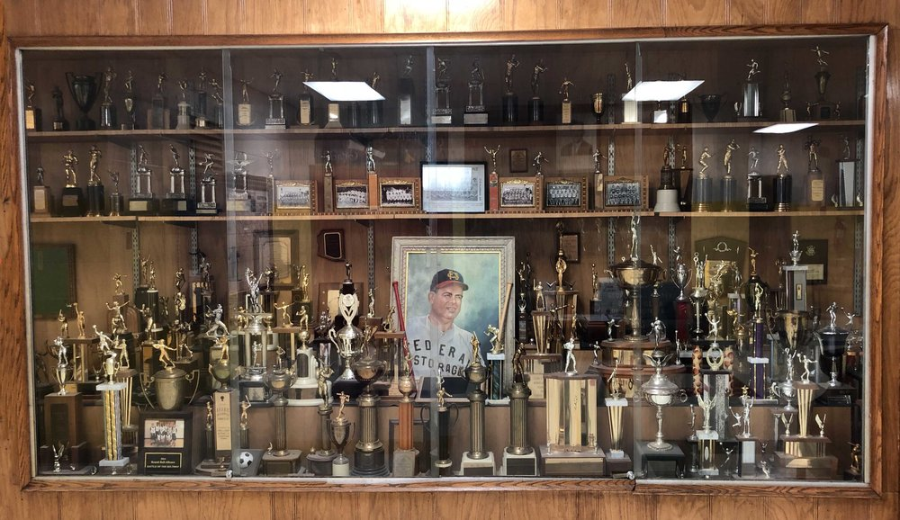 Basement trophy case showcasing past glory!
