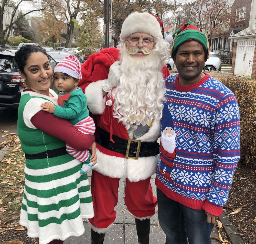 Divya Swamy and Om join Santa and his sidekick before they get down to holiday business.