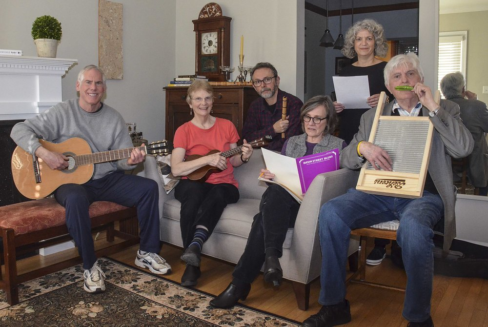 Burleith Blues Band members Mark Snyder, Linda Brooks, Patterson Clark (leader), Marilyn Bennett, Lenore Rubino, and Dwane Starlin. Not pictured: Linda and Dick Hall. Photo by Linda Brooks.