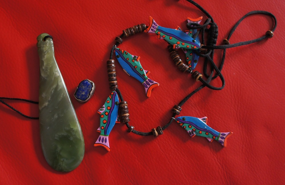 Pounamu, lapis lazuli and Maldivian fish from my jewellery box. Pic by Janelle Trees 2016