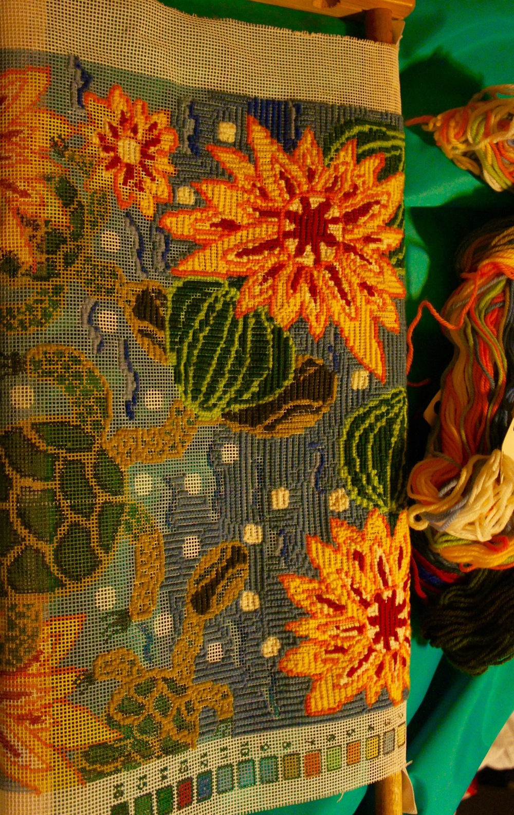 Half-formed turtles heading into stormy seas: the abandoned yellow water-lily tapestry.