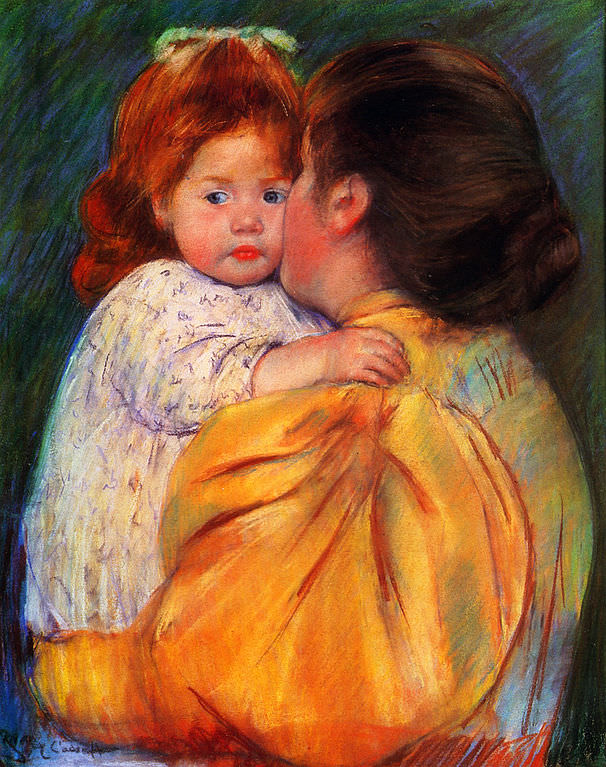 Maternal Kiss by Mary Cassatt 1897. Photo from Wikimedia Commons.