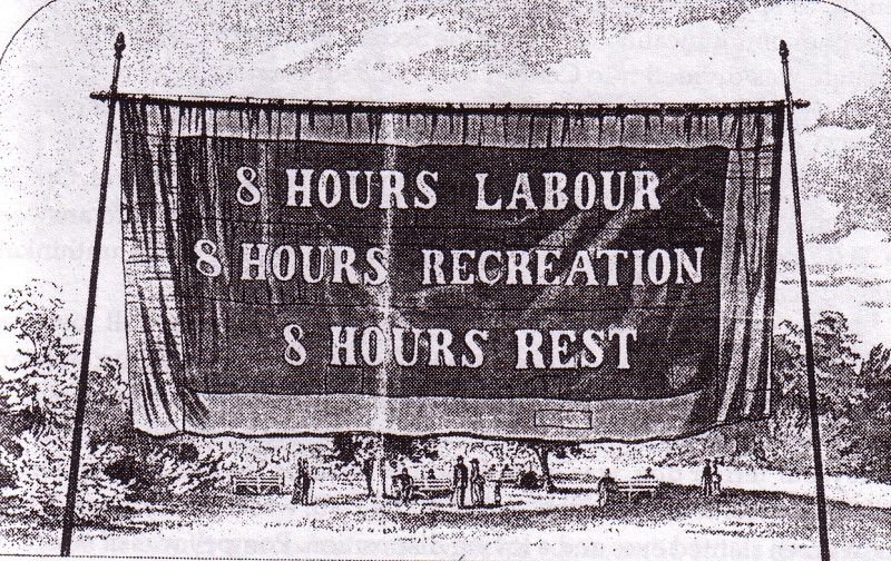 8-hour Day Banner, Melbourne 1858.  Wikicommons Pic .