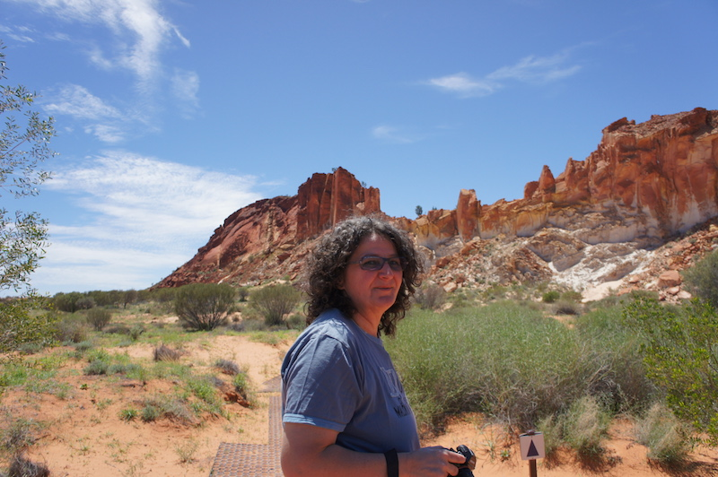 Claudia at Rainbow Valley the same January -- happy with camera in hand. Pic by author