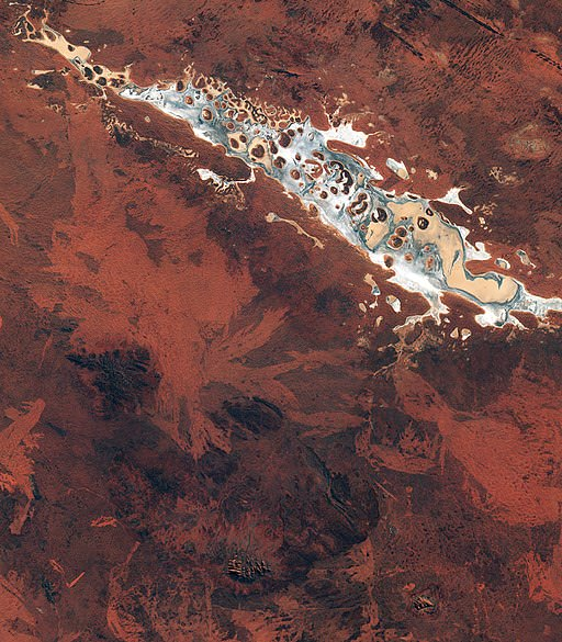 Satellite photo of Lake Amadeus, near our place.  European Space Agency  photo.