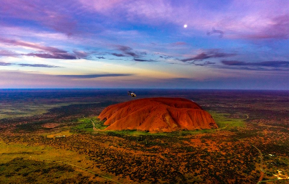 Uluru from the air at sunset. Photo © Claudia Jocher 2016.