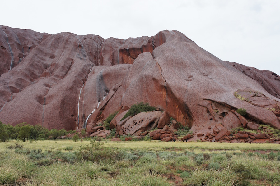 Beginning of the Mala Walk at the base of Uluru during rain. How big is it? Look closely -- there are three people visible as dark shapes in the right third at the Rock base. © Janelle Trees 2017