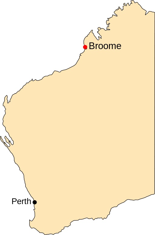 Indicative map: Broome's position relative to the state capital. Map by  Mark .