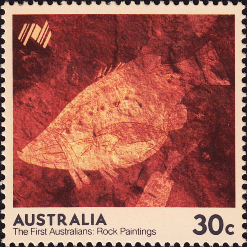 Australia Post stamp of a Barramundi rock painting, showing x-ray style. Pic via Wikicommons.
