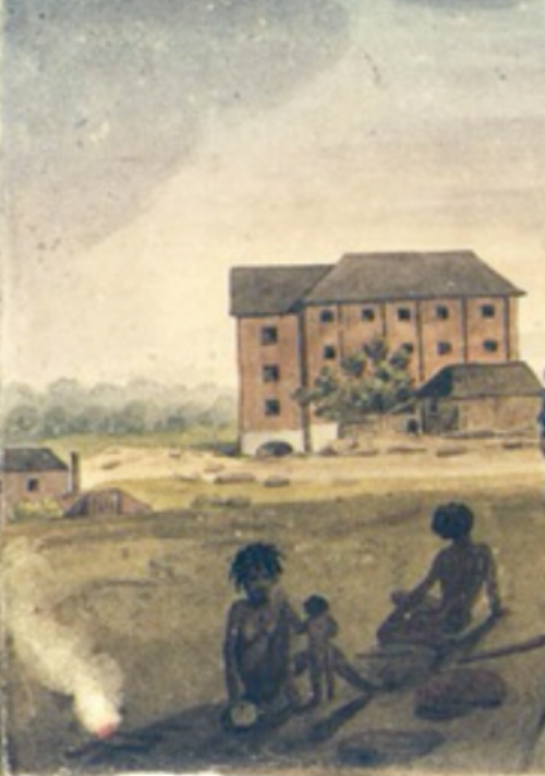 Detail from a View of Parramatta c.1828 by colonial artist  Augustus Earle .