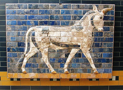Mosaic of an auroch from the Ishtar Gate of Ancient Babylon, c.575BC.  Brewbooks  pic.