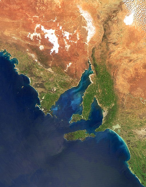 The Spencer Gulf is the huge inlet on the left of the photo. This  NASA  image shows part of the area our flight covered. The city of Adelaide is the beige area on the east (right) side of the map on the smaller Gulf St Vincent. Notice the salt lakes to the north.