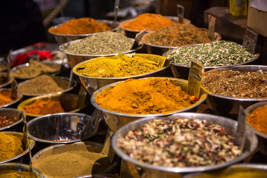 Spices at the market. Photo by  Jason Leung .