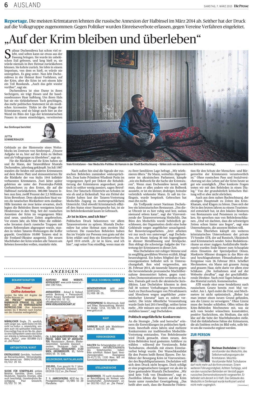 "Article by Jutta Sommerbauer in ""Die Presse"" (07.03.2015) with one of my portraits of crimean tatar politician Ali Hamzin."