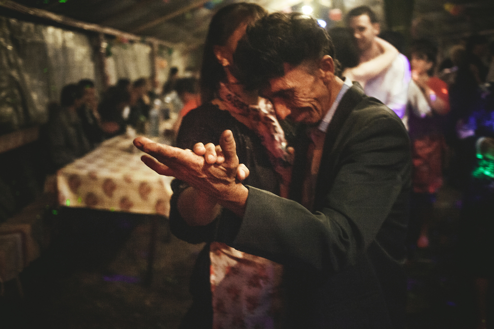 Mihail dancing with his wife,  Letea, Romania, 2015