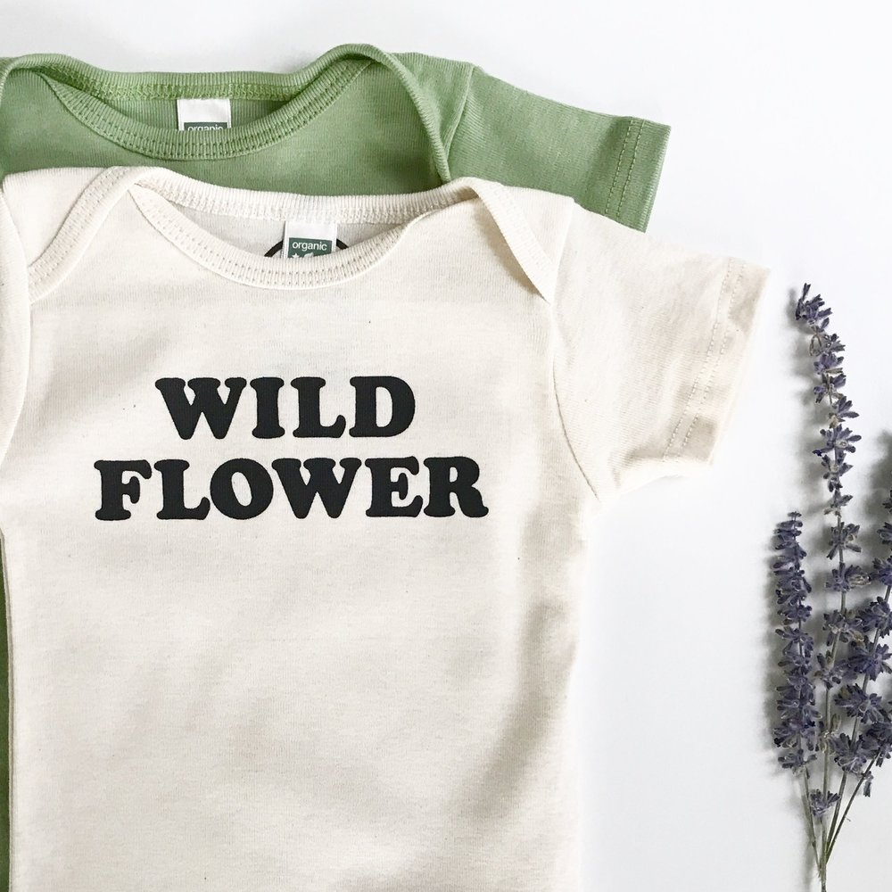 877e954c5 WILD FLOWER - Organic or Cotton One-piece - Short Sleeve or Long Sleeve —  Savage Seeds