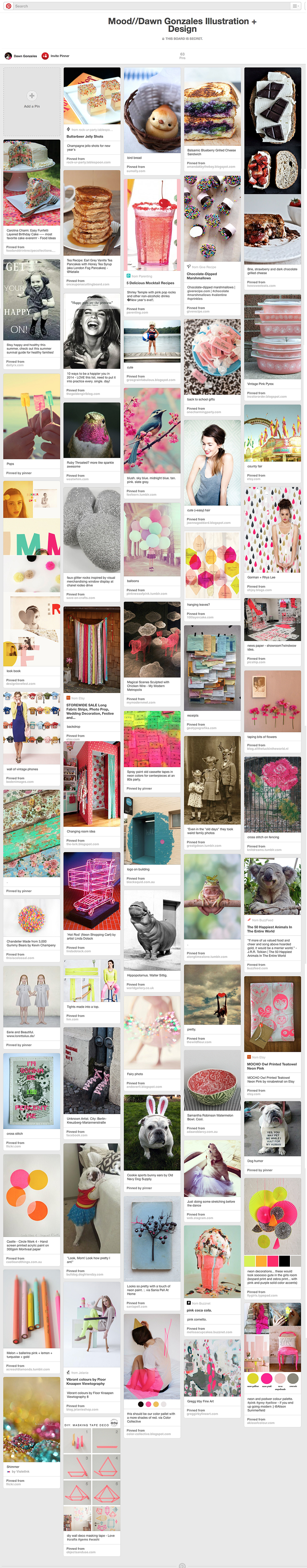 Pinterest Mood Board for Dawn Gonzales Illustration + Design