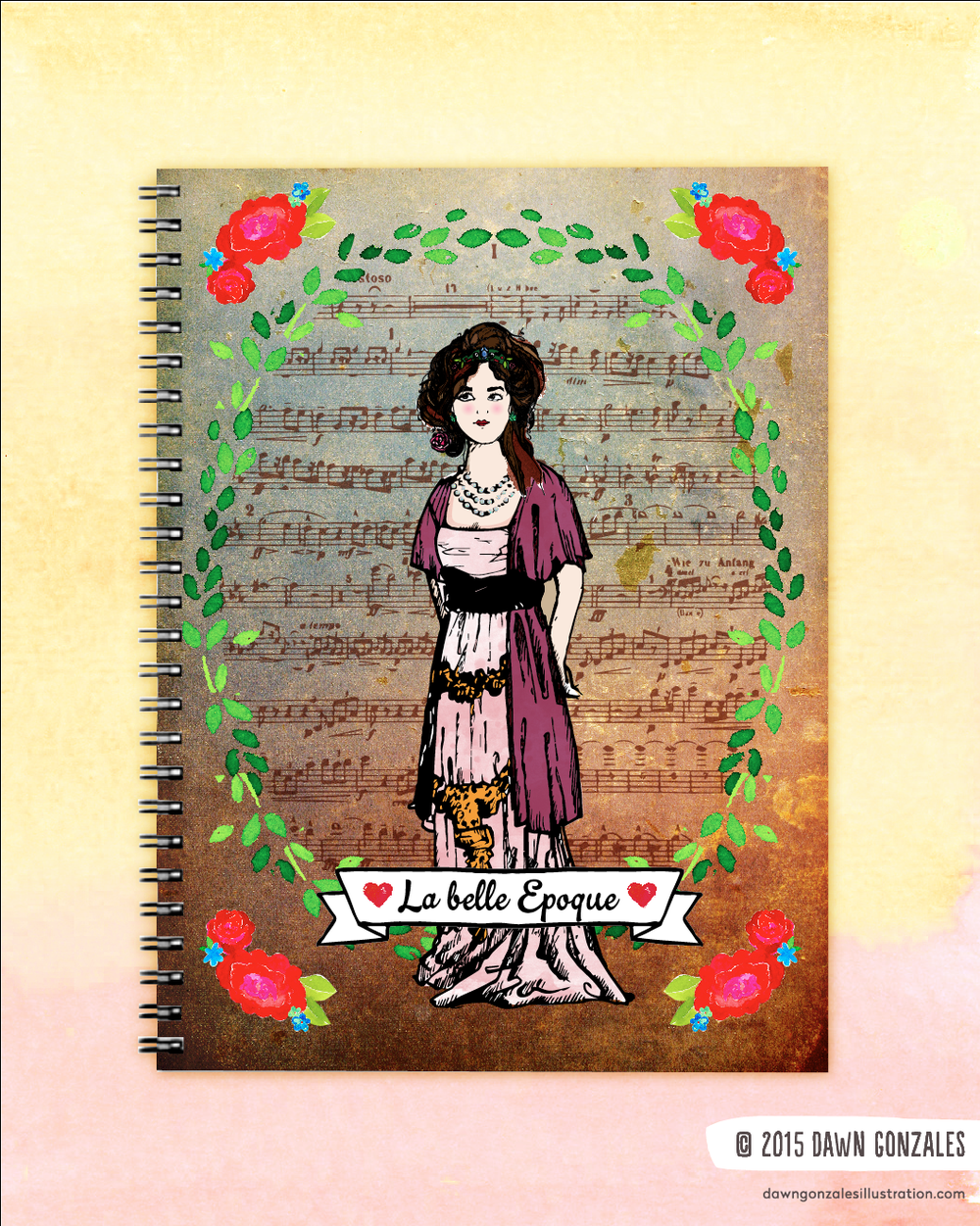 La Belle Epoque Lady Journal Cover by Dawn Gonzales
