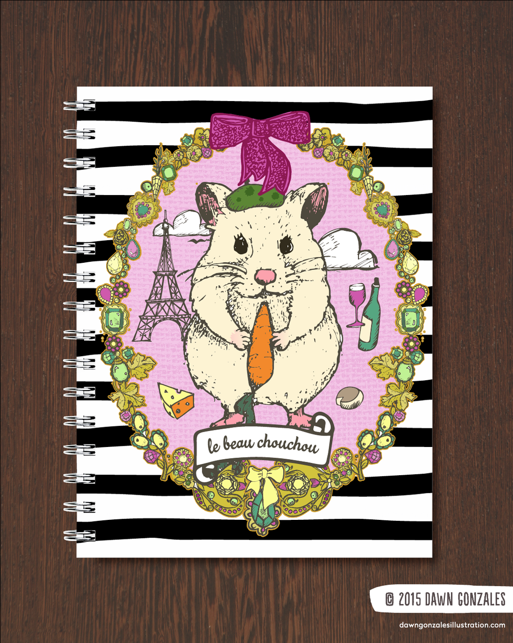 Le Beau Chou Chou Hamster Journal Cover by Dawn Gonzales