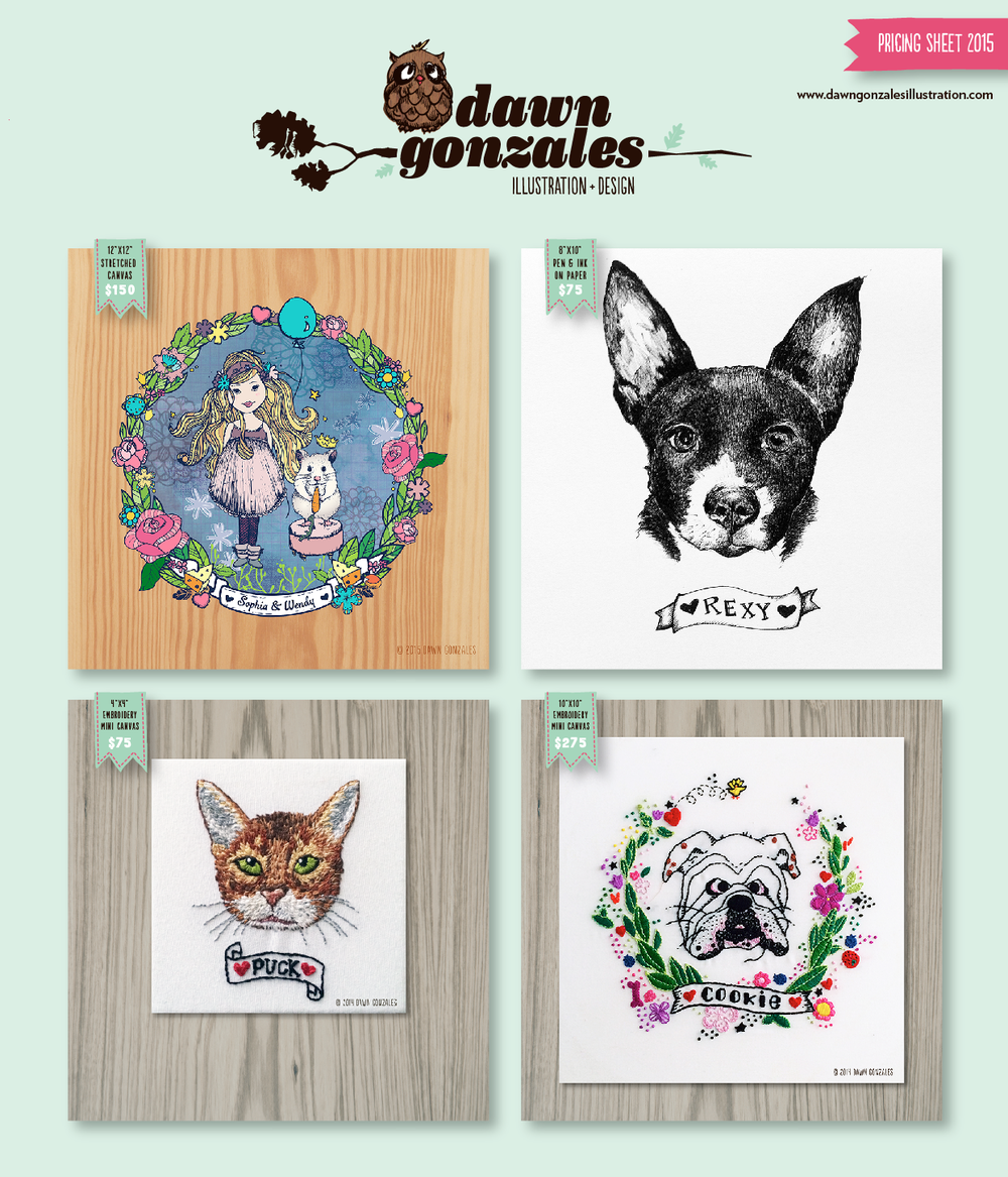 2015 pricing sheet for custom illustrations by Dawn Gonzales