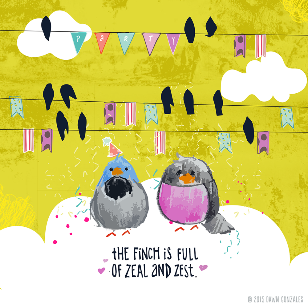 Finch Party 3 by Dawn Gonzales