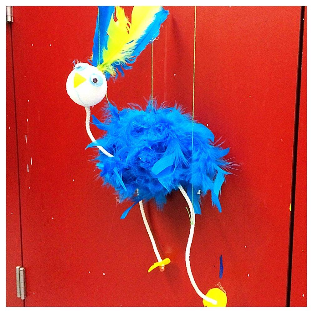 Rio de Janeiro inspired bird marionette!