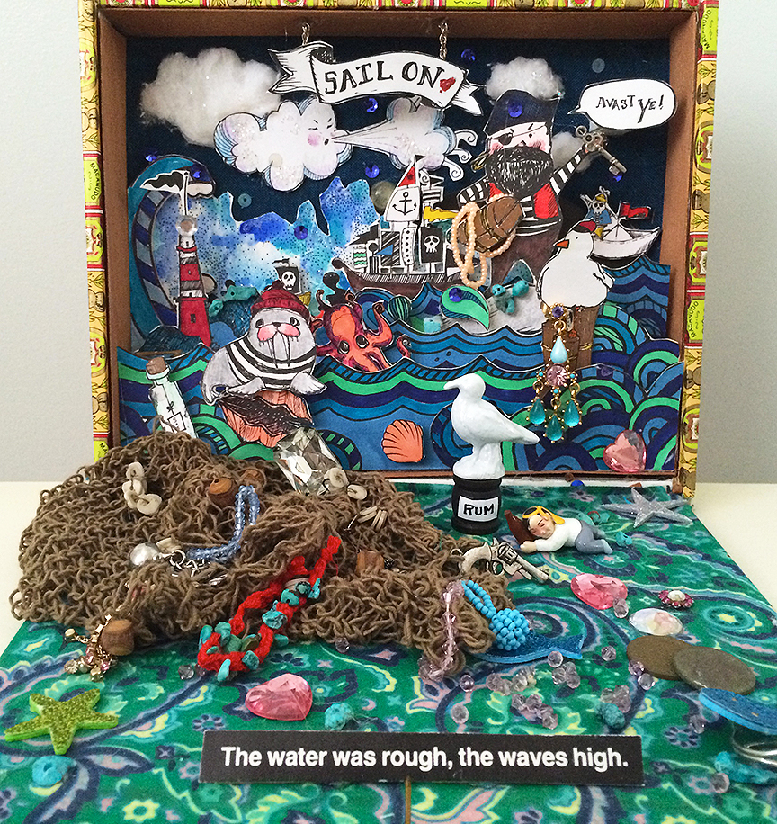 Pirate Diorama with original illustrations and turbulent cardboard waves!