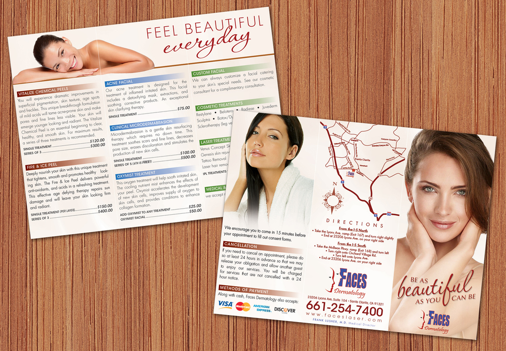 Faces Dermatology Tri-fold Brochure