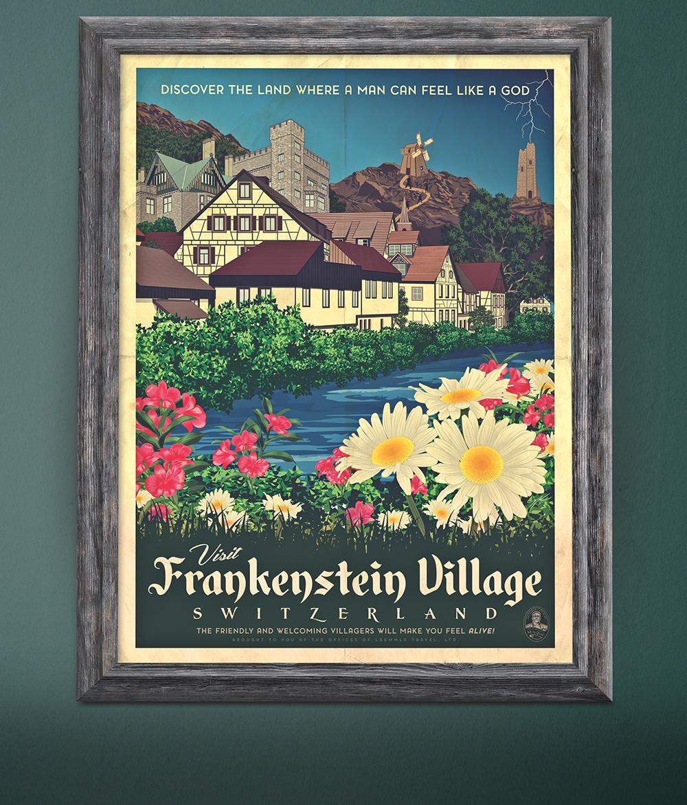 """""""Frankenstein Village"""" Travel Poster"""