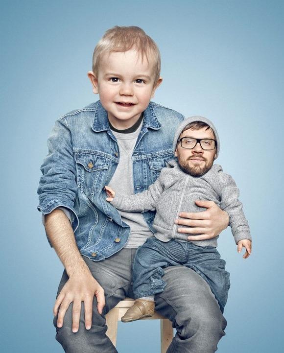 Las inquietantes fotografías de Paul Ripke en las que los padres intercambian cabezas con sus hijos.