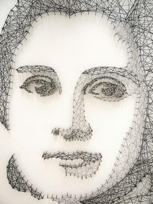 Impresionantes retratos hechos sólo con hilo y clavos, obra de Pamela Campagna y Thomas Scheiderbauer.