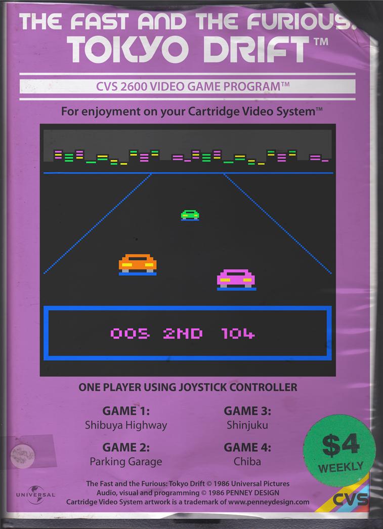 Películas y programas de TV reimaginados como juegos de Atari 2600, obra de la gente de Penny Design. (vía)