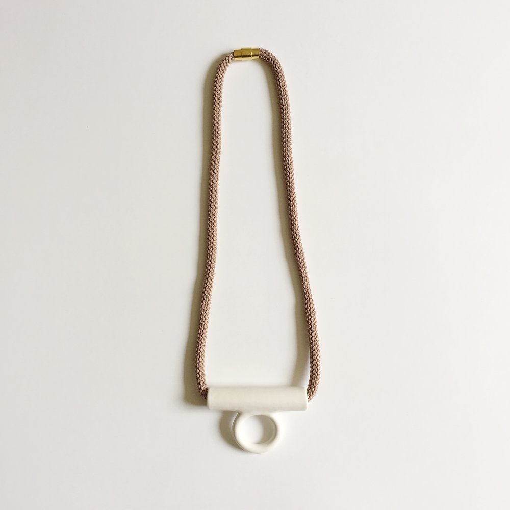 White Hollow Tab Necklace, 2016