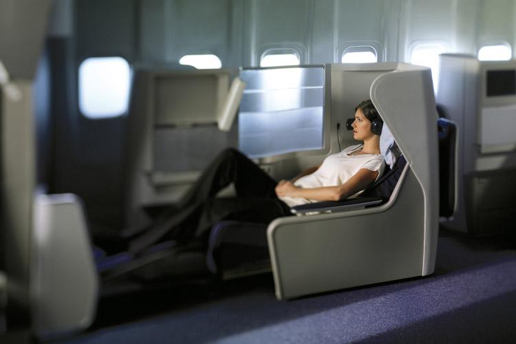 """British Airways """"Club World"""" Business Class."""
