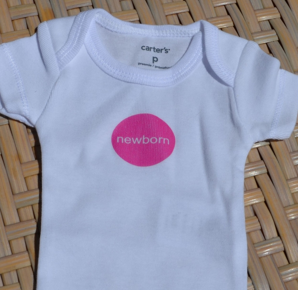 premmie onesie with newborn iron on