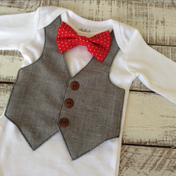 Adorable vest and bowtie for preemies from Adelaesfashions