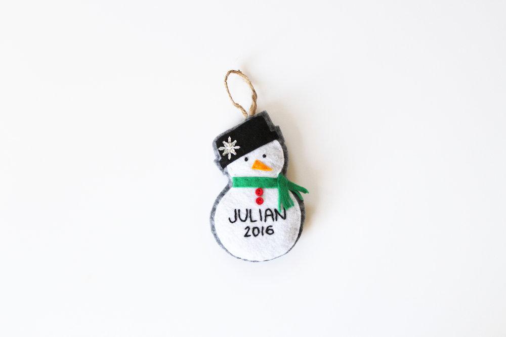 Custom holiday snowman ornament for preemies from Silly Ollie