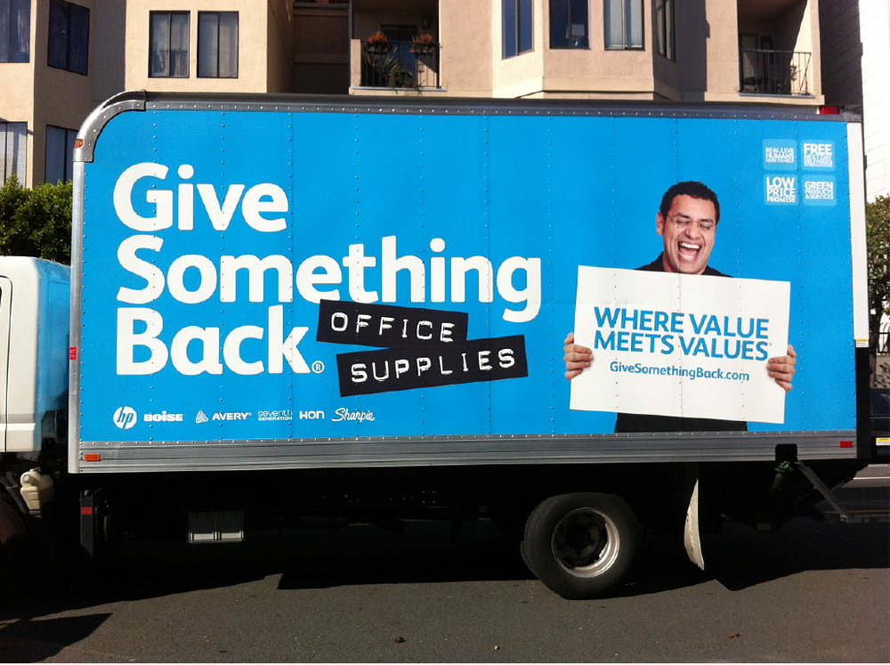 Give Something Back Office Supplies truck branding by Good Stuff Partners side view