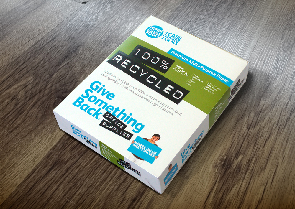 Give Something Back Office Supplies paper reem packaging redesign by Good Stuff Partners