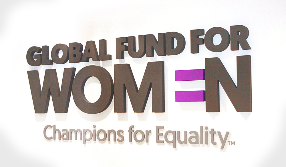Global Fund for Women logo design and office branding by Good Stuff Partners